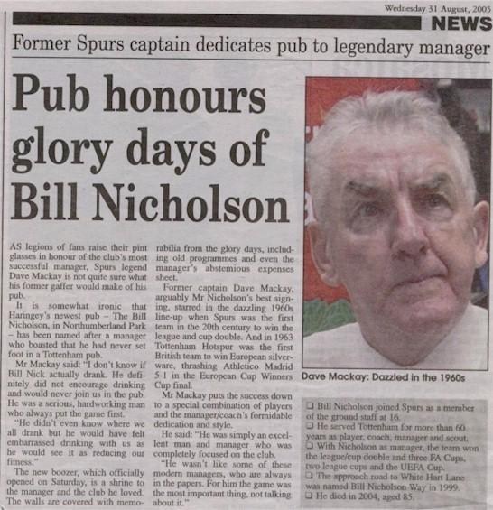 <b>...</b> the opening of the '<b>Bill Nicholson</b> Pub' in Park Lane Tottenham. - bill_nicholson_pub_newspaperclip